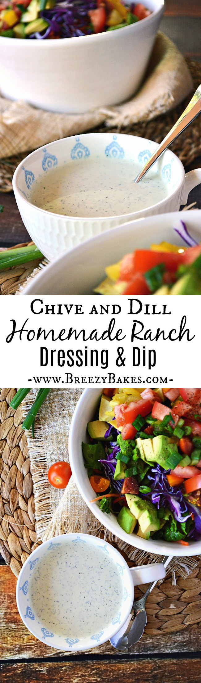 Skip the bottled stuff with all the additives and opt for this fresh and flavorful Homemade Ranch Dressing and Dip. It comes together in minutes and you can drizzle it on your favorite salads and sandwiches or use it as a savory dip.