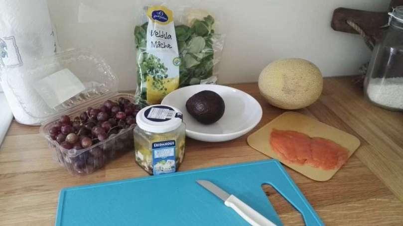 snelle salade met meloen en feta