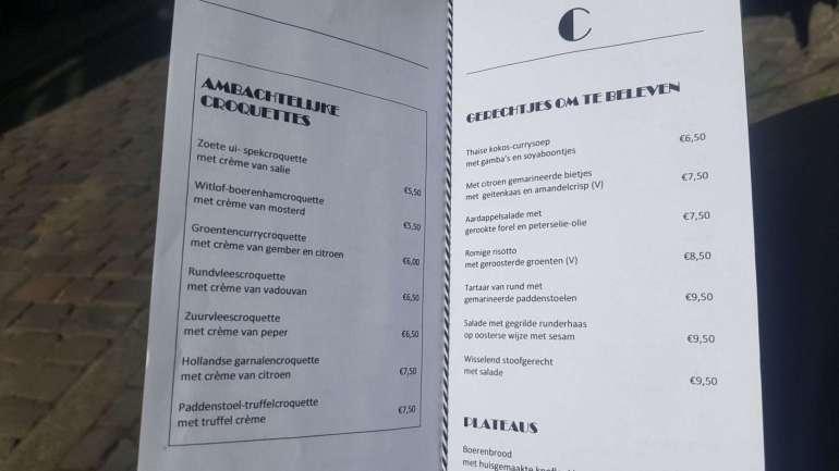 Menukaart Bistro Croquant Maastricht bregblogt.nl