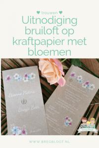 uitnodiging bruiloft trouwkaarten kraftpapier bloemen logo wedding invitation design kaartje2go bregblogt.nl