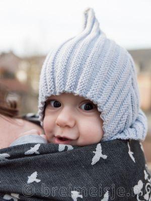 Baby elfenmuts breien breipatroon pixie muts