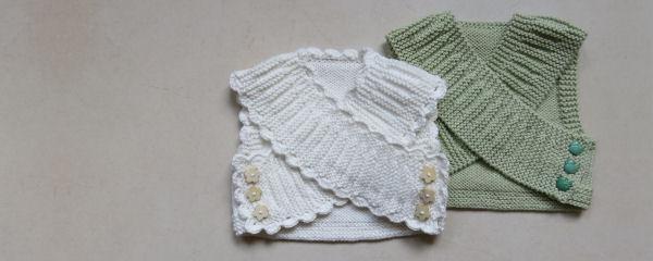 Babyspencer breien - gekruist patroon