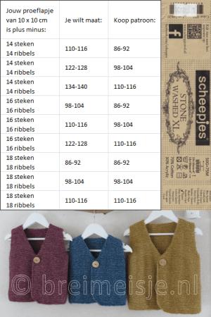 Stekenverhouding breien berekenen, omrekentabel Stone Washed XL