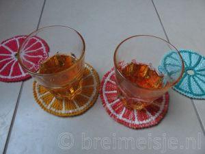 Onderzetters breien schijfje citroen fruit
