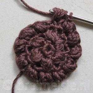 Puff stitch steek haken stap 7