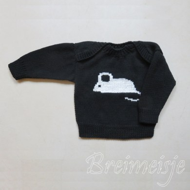 Babytruitje zwart wit breien patroon