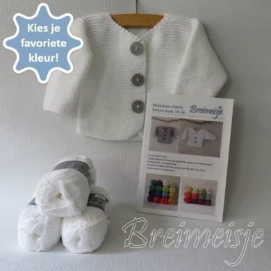 Breimeisje breipakket babyjasje-ribbels maat-50-56 cotton fun