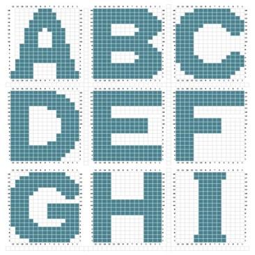 Letters breien in het patroon staan alle letters van het alfabet