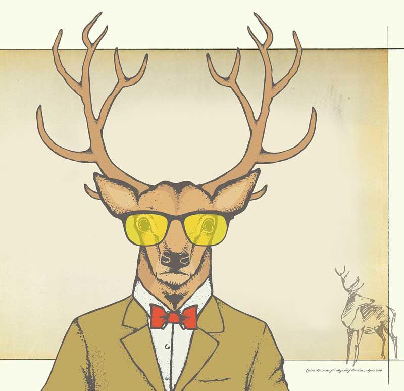 Grfaik – Hirsch mit gelben Sonnenbrillen und rotem Mascherl © Christa Breineder