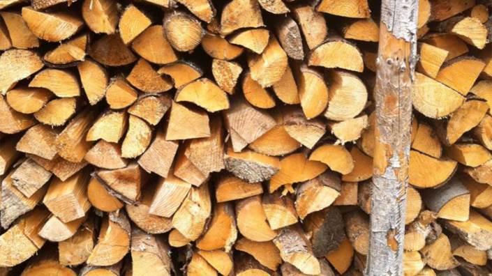 Nahaufnahme von einem Holzstoß