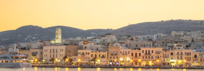 Syros, Greek island in the night, holidays