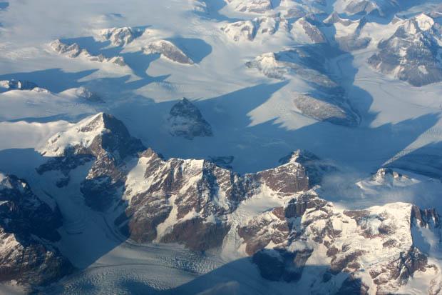 Erneut ein Flug über Grönland.