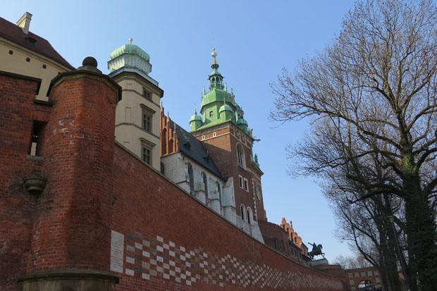 Erster Blick auf den Wawel, die ehemalige Residenz der polnischen Könige
