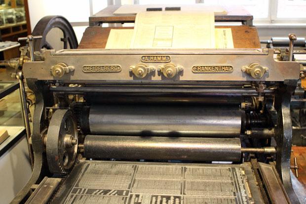 Viele alte Druckmaschinen sind ausgestellt