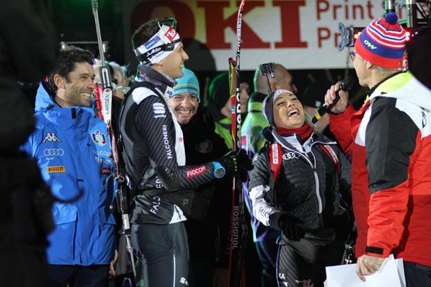 Besonders gut gelaunt zeigte sich das italienische Team um Dorothea Wierer und Dominik Windisch