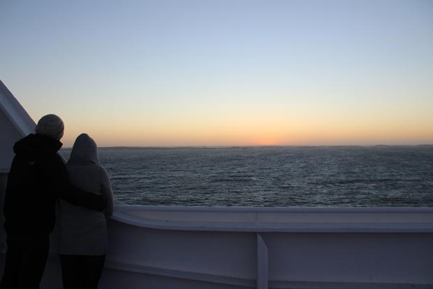 Kurz vor Sonnenaufgang begab ich mich an Deck