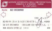 Fahrkarte von Neapel nach Pompeji