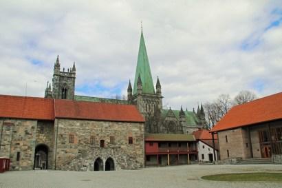 Das erzbischöfliche Palais in Trondheim in Norwegen