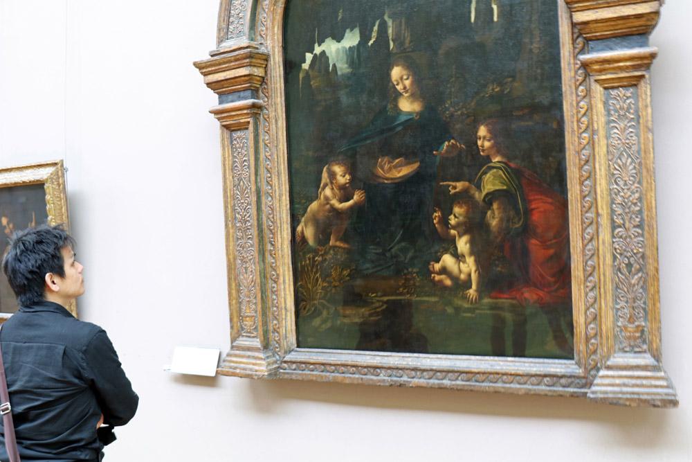 Die Felsgrottenmadonna von Leonardo da Vinci im Louvre Museum Paris