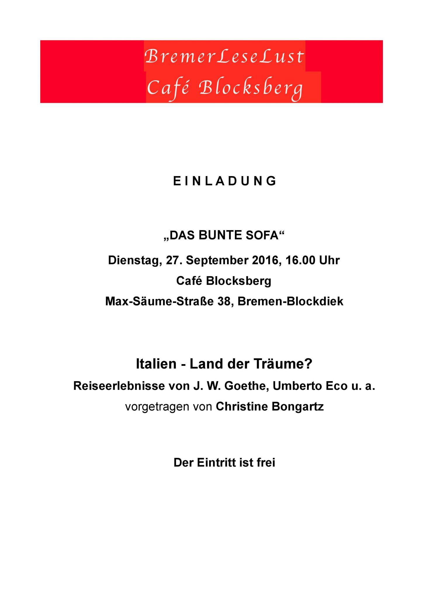 Das Bunte Sofa September 2016 Einladung Italien Lander der Traeume BremerLeseLust