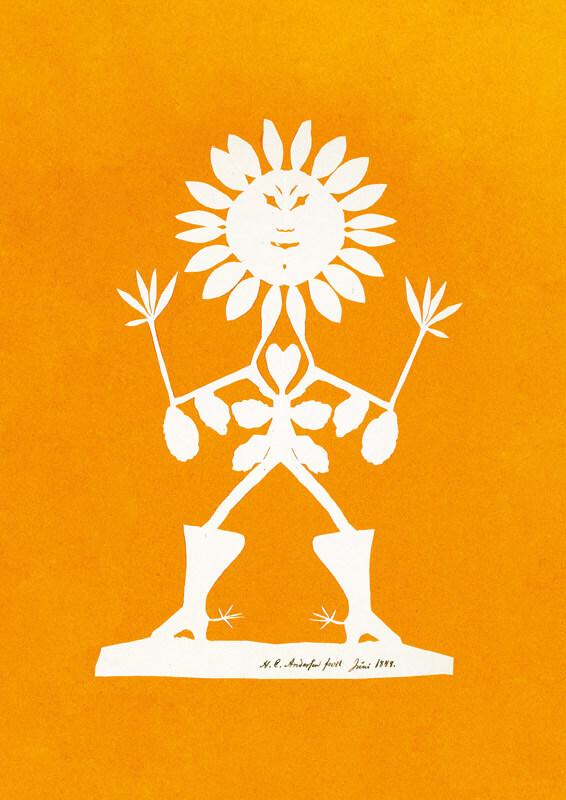 18,5 x 26 cm. Silhouetklipning, foræret botanikeren J. M. C. Lange under et af H. C. Andersens besøg i 1848 hos B. S. Ingemann i Sorø, hvor Lange da var konstitueret lektor ved Akademiet. Bemærk allusionerne til botanikken: solsikkehovedet, fingre som blade o.s.v. Liste nr. 287. Kat. 484.