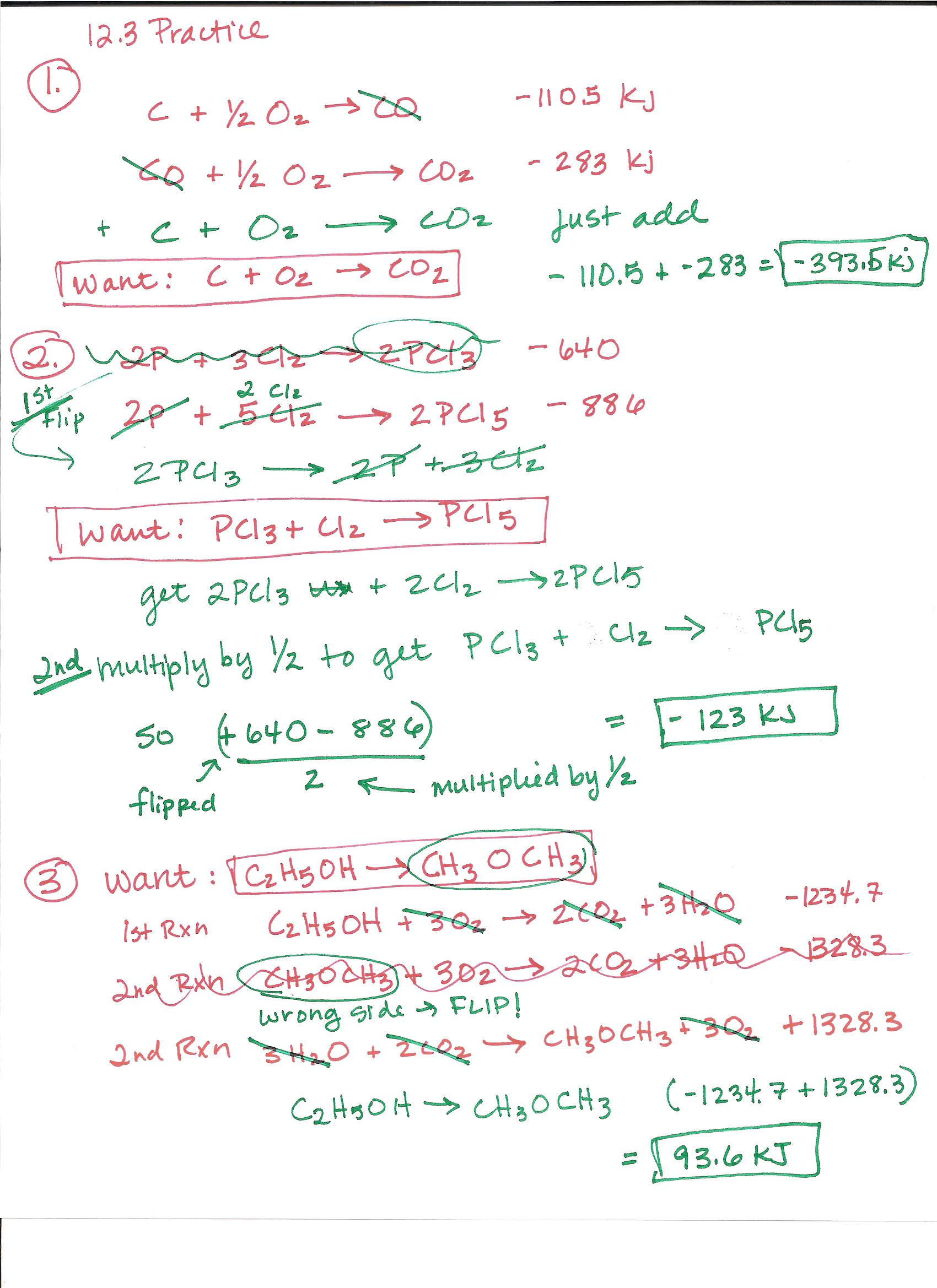 Hess S Law Worksheet Answers