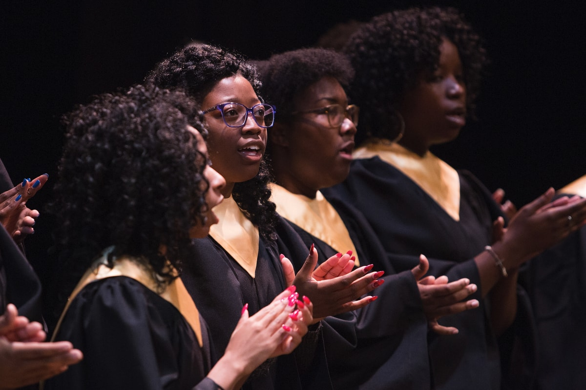Nicole Vernon performs with he Brenau University Gospel Choir during the Martin Luther King Jr. Day Convocation.