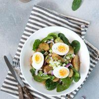 Aardappelsalade met spinazie en ei