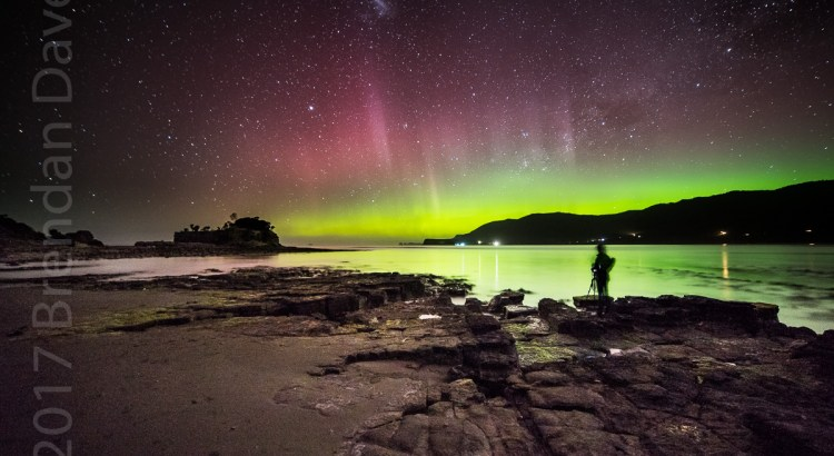 Aurora, Australis, Beams, Colours, Pirates Bay, Selfie