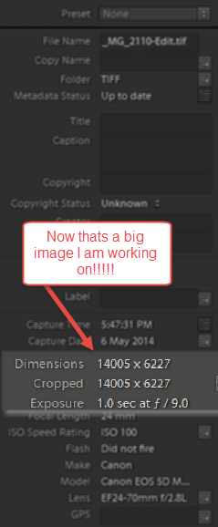 WOW now that's big. 14,005 pixels wide and 6227 pixels high...