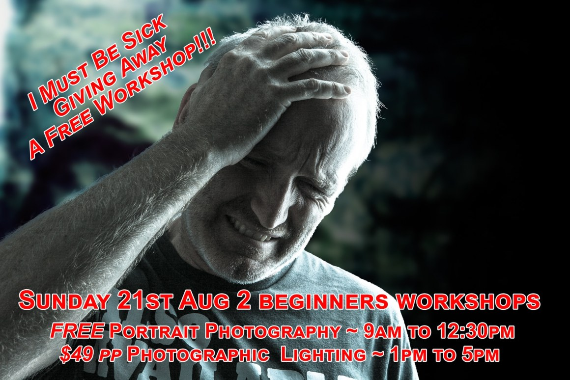 I must be sick to be giving away a half day beginners guide to portrait photography workshop