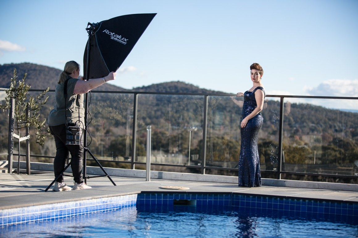 Behind-the-scenes of the pool shoot
