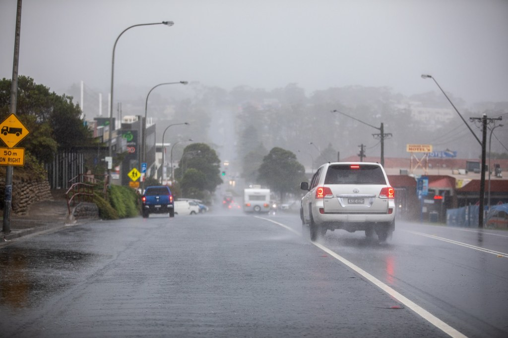Main Street of Ulladulla as the fire stopping rains fall