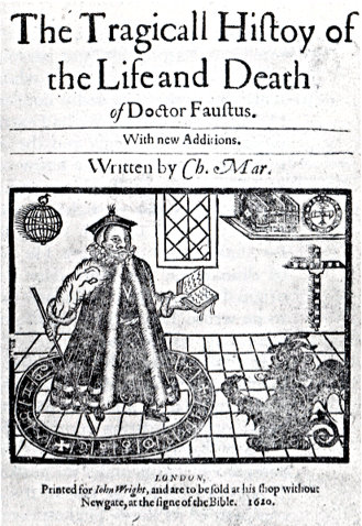 Frontpiece from a 1620 printing of 'Doctor Faustus,' showing Faustus conjuring Mephistophilis.