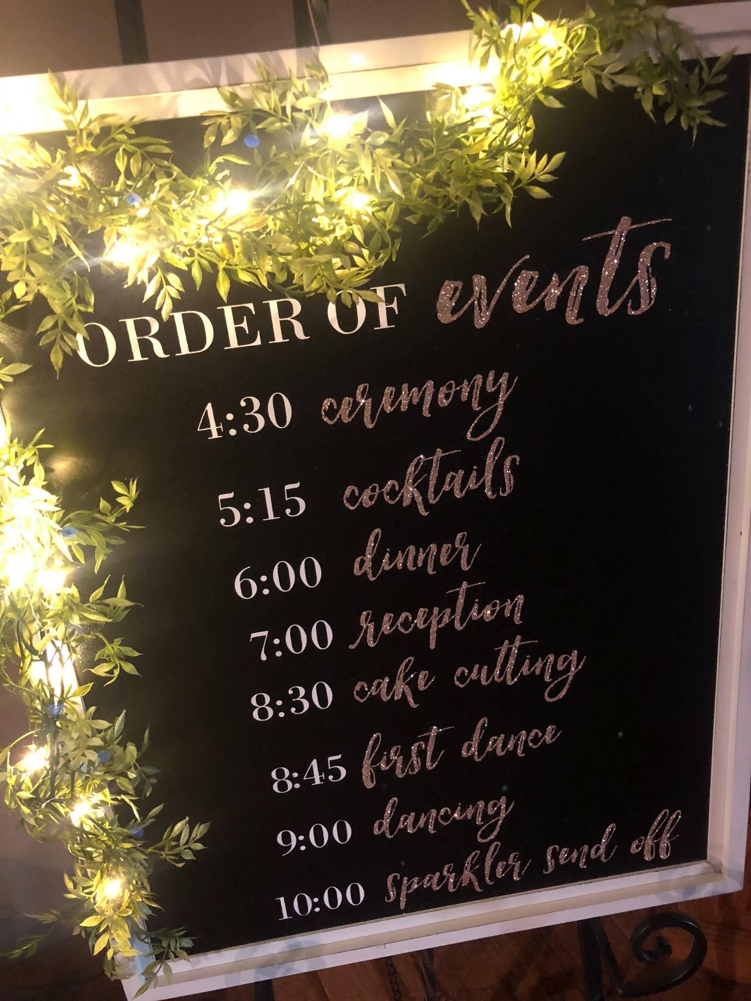 Order Of Events Wedding Diy Board