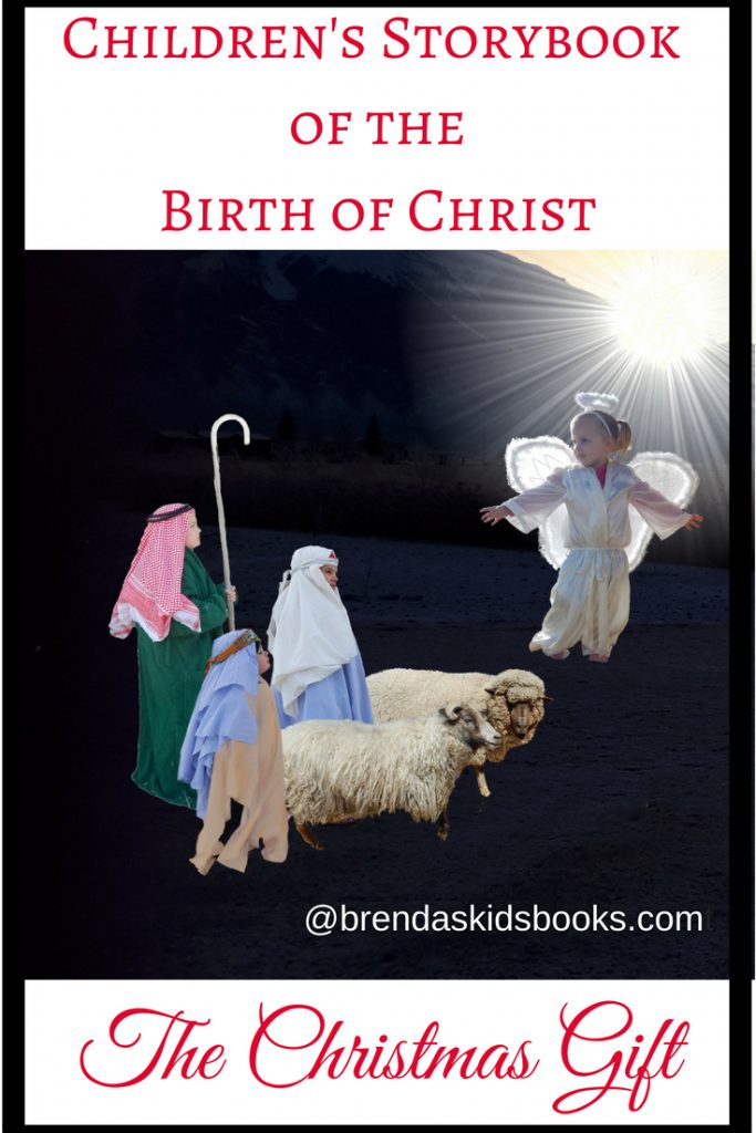 """Angel and shepherds and sheep """"A children's storybook of the birth of Christ"""""""