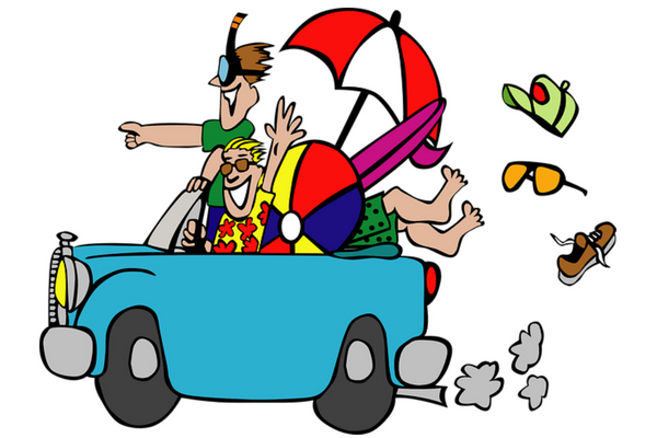 Blue Convertible car with umbrella beachball two guys stuff flying out cartoon