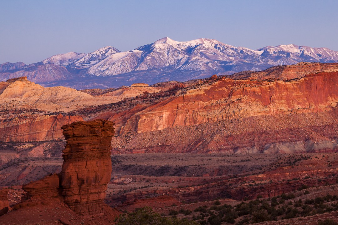Dusk over Capitol Reef and Henry Mountains.