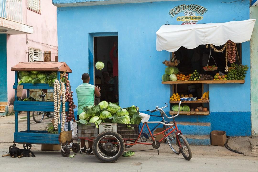 Produce warehouse and carts, Trinidad.