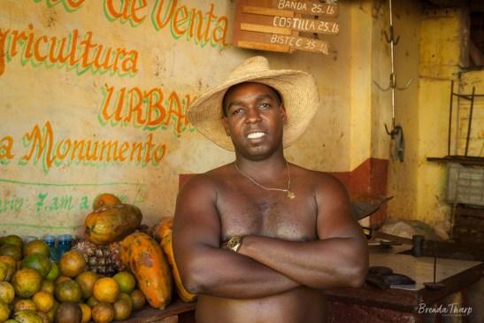 Produce Shop and Man, Trinidad, Cuba.