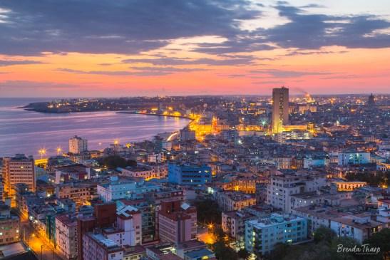 Sunset over Havana, Cuba.