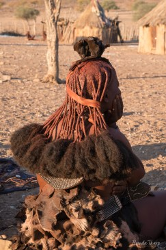 Hairstyle of Himba woman, Namibia.