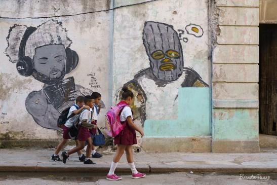 School Kids and Mural, Havana.