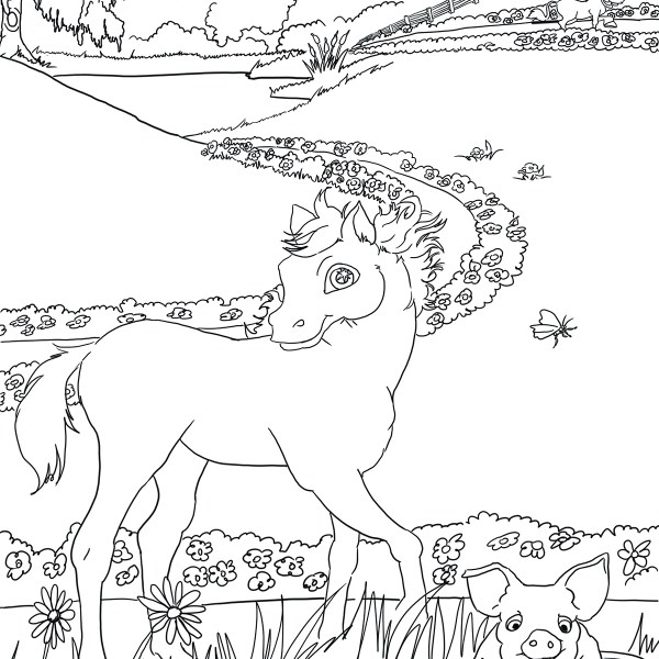 Brenda W Powell Sugarman coloring activity sheet farm animals horse pig field