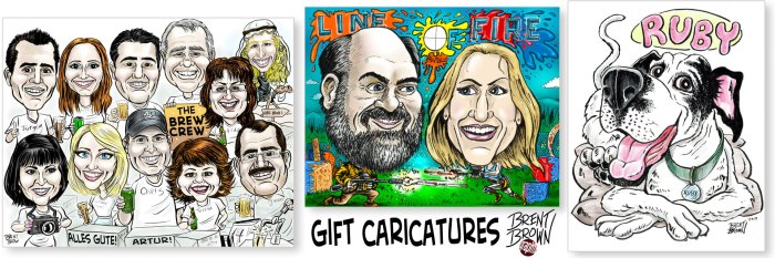 Studio/gift caricatures by Brent Brown