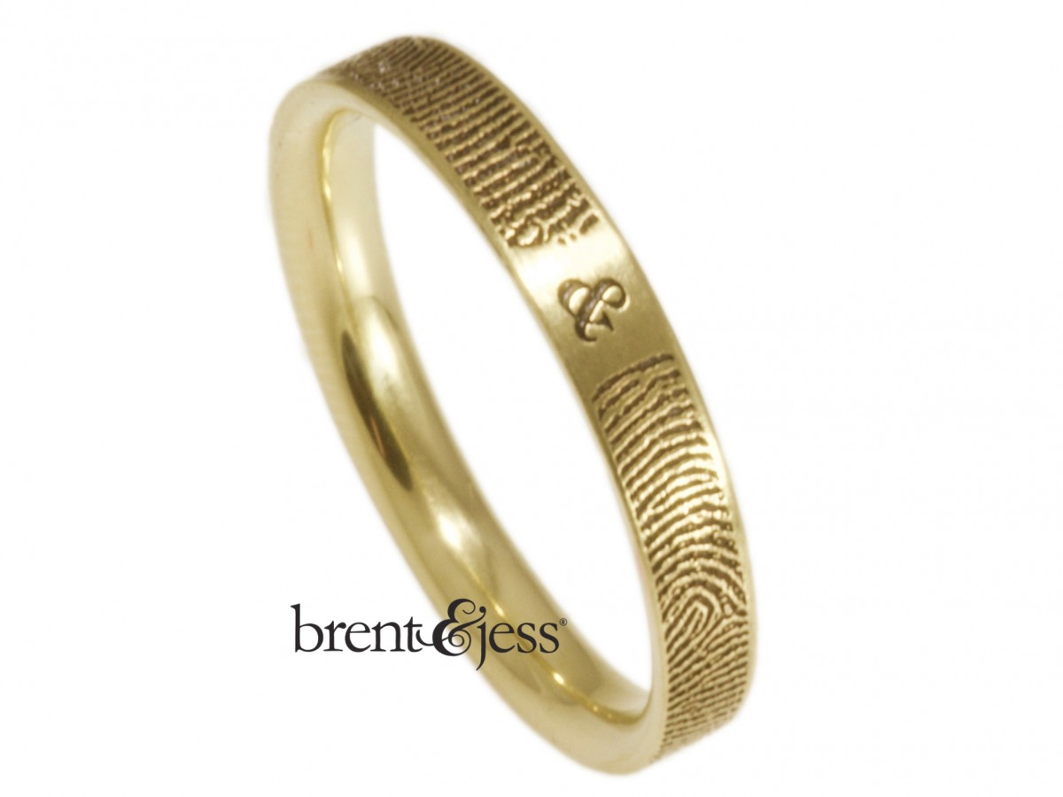 10k yellow gold you and me ring narrow 3mm handmade by Brent&Jess