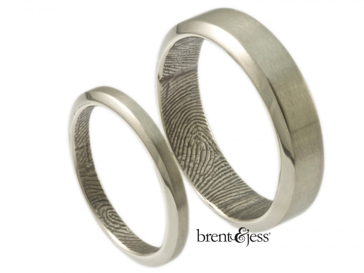 10k white beveled edge wedding band set with fingerprints by Brent&Jess