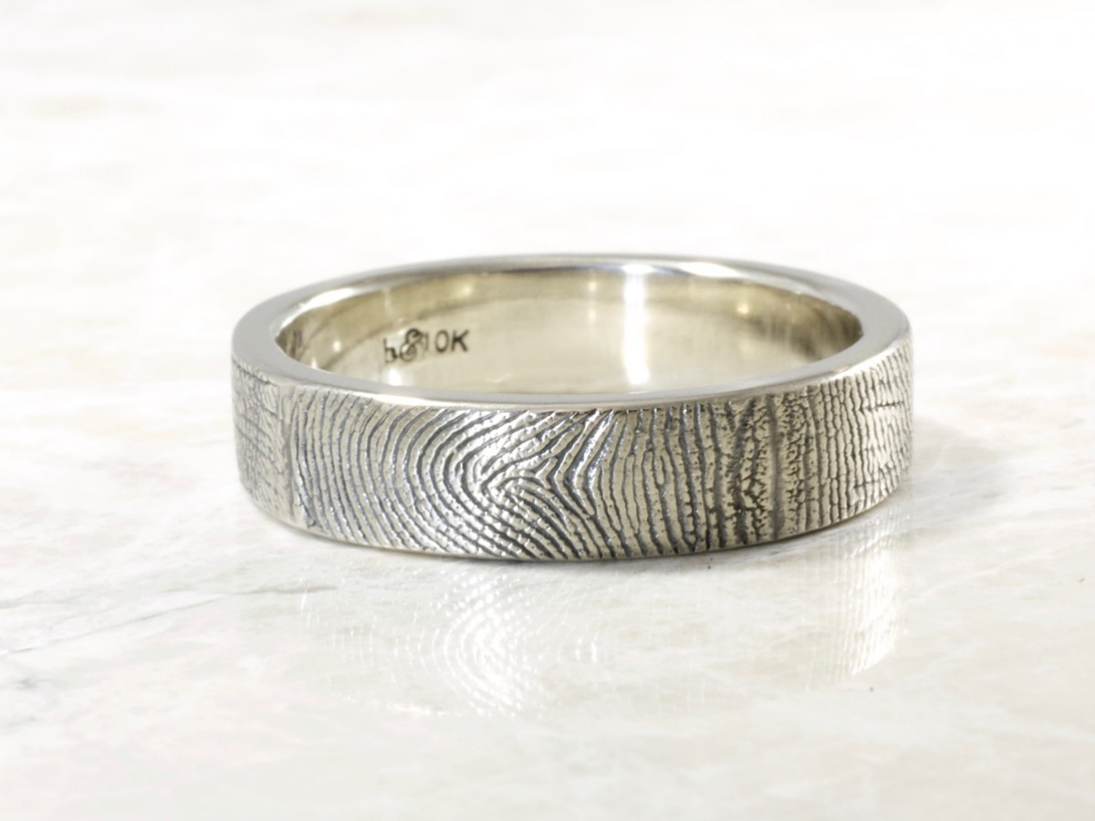 10k white 6mm outside fingerprint wrap wedding band handmade by