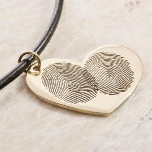 14k rose two fingerprint heart necklace by Brent&jess