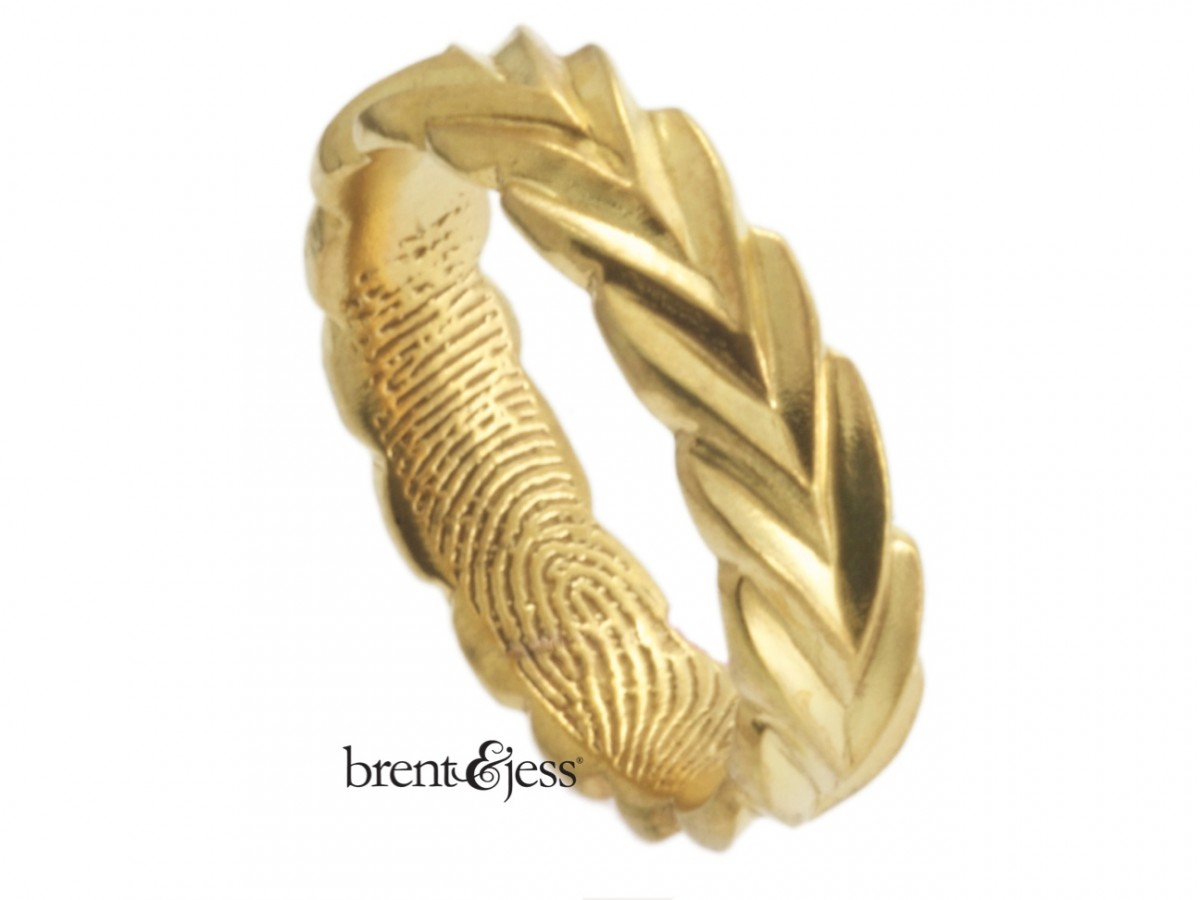 18k yellow gold fingerprint ring in a unique olive branch design by Brent&Jess